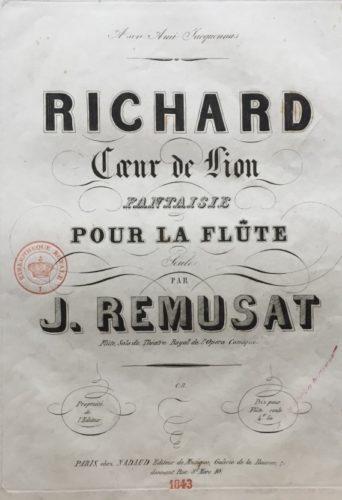Richard, coeur de lion, fantaisie pour la flûte seule