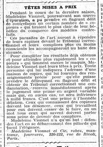 Exemple d'avis parue dans le Figaro, 16 mars 1921