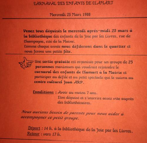 Carnaval organisé par la bibliothèque de la Joie par les livres à Clamart (2009/050/0260). © BnF, archives administratives