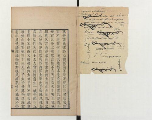 Figure 7. Un morceau du papier inséré dans une copie chinoise du Pi wang (Chinois 7101 : https://gallica.bnf.fr/ark:/12148/btv1b52501309v).