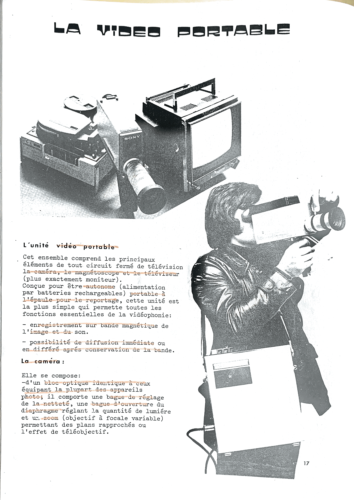 Fig. 1 : extrait de la brochure de Philippe Chauvet, L'Audiovisuel au service de l'université Paris VIII -Vincennes, Université Paris VIII Vincennes Saint Denis, 1975