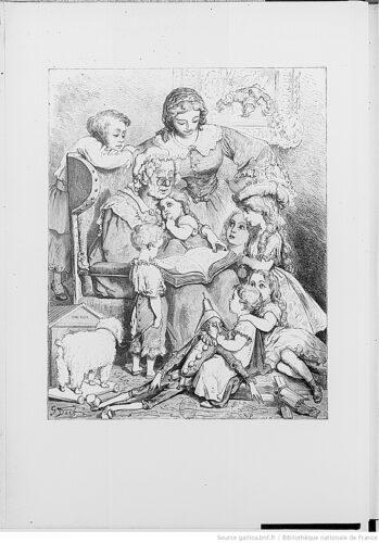 [Frontisspice en reg. du Titre :] La lecture des contes en famille. [Cote : Y2 24/Microfilm R 122471]