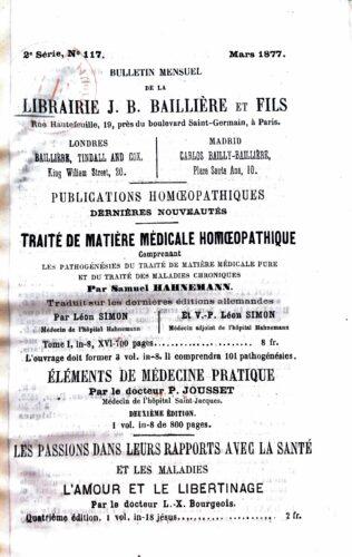 Catalogue de la librairie Baillière de Mars 1877, 2ème série, n°117