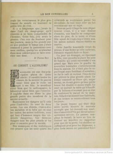 Extrait du Bon Conseiller, mensuel de la Société française de Tempérance, année 1886