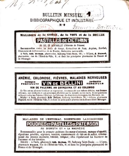 Page de réclames issue du Bulletin mensuel bibliographique et industriel de Germer Baillière, années 1840
