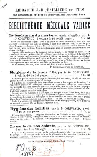 Extrait d'un catalogue de la librairie J.-B. Baillière datant de 1896.