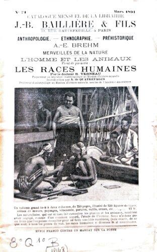 Couverture de numéro de Catalogue de mars 1891 de la librairie Baillière
