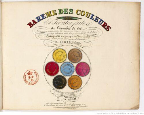 Barême des couleurs, ou les Teintes faites au nombre de 616... par Jarle,... Jarle (peintre)