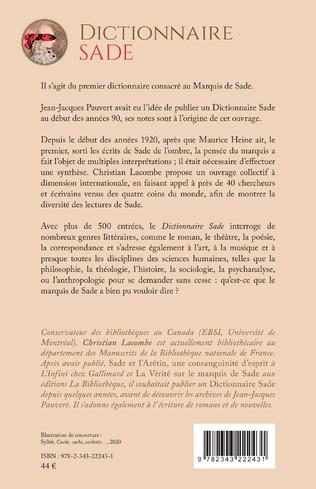 Dictionnaire Sade : 4e de couv.