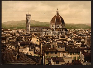 The Cathedral, panoramic view from Vecchio Palace, Florence, Italy