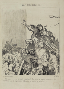 """Women citizens, it is rumoured that they are going to refuse us our right to divorce... let us stand here together in permance and save the fatherland!"", caricature by Honoré Daumier in Le Charivari, 4 August 1848. Accessed at http://digi.ub.uni-heidelberg.de/diglit/charivari1848/0874?sid=c6ed75261bced9c795aac77a0531d637"
