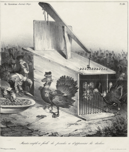 "A caricature by C. J. Traviès subtitled ""A simple and easy way to catch and tame turkeys"". Published in La Caricature, no. 91, 2nd August 1832"