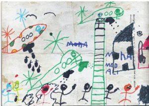 Kunstprojekt in Idomeni: Ein gemaltes Bild aus Kinderhand (Bild: Maria Alegria)
