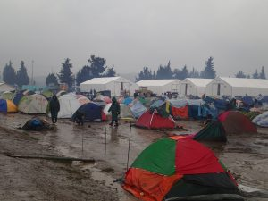 Tagelanger Regen und katastrophale Zustände im Camp Idomeni im Februar 2016 (Foto von Clara Graulich)