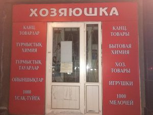 Abb. 3: Zweisprachigkeit. Kasachisch-russische Schilder in einem Haushaltsgeschäft (Foto: Stefan H. Nessler & Nadja Wulff)