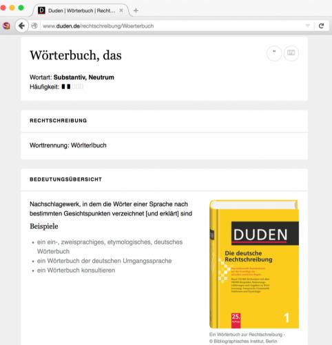 Abb. 2: Das Online-Wörterbuch Duden – Seit über 130 Jahren ist Duden die maßgeblicheInstanz für alle Fragen zur deutschen Sprache und Rechtschreibung.