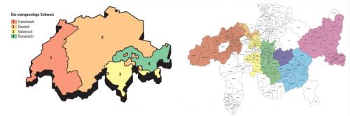 Abb. 5: Die sprachlichen Erscheinungsformen in der Schweiz (links) und im Kanton Graubünden (rechts).