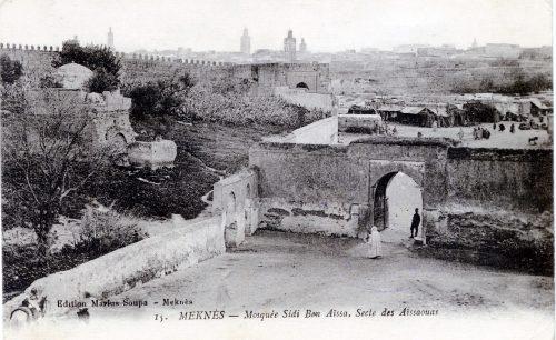 Carte postale Maroc 1914 - Meknes mosquee Sidi Ben Aissa secte