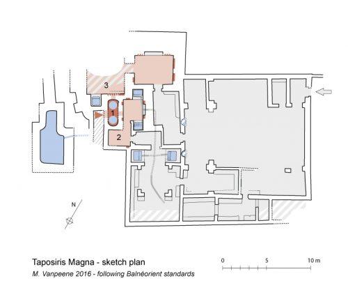 Plan normé des thermes de Taposiris (© M. Vanpeene, MAFTP 2016)