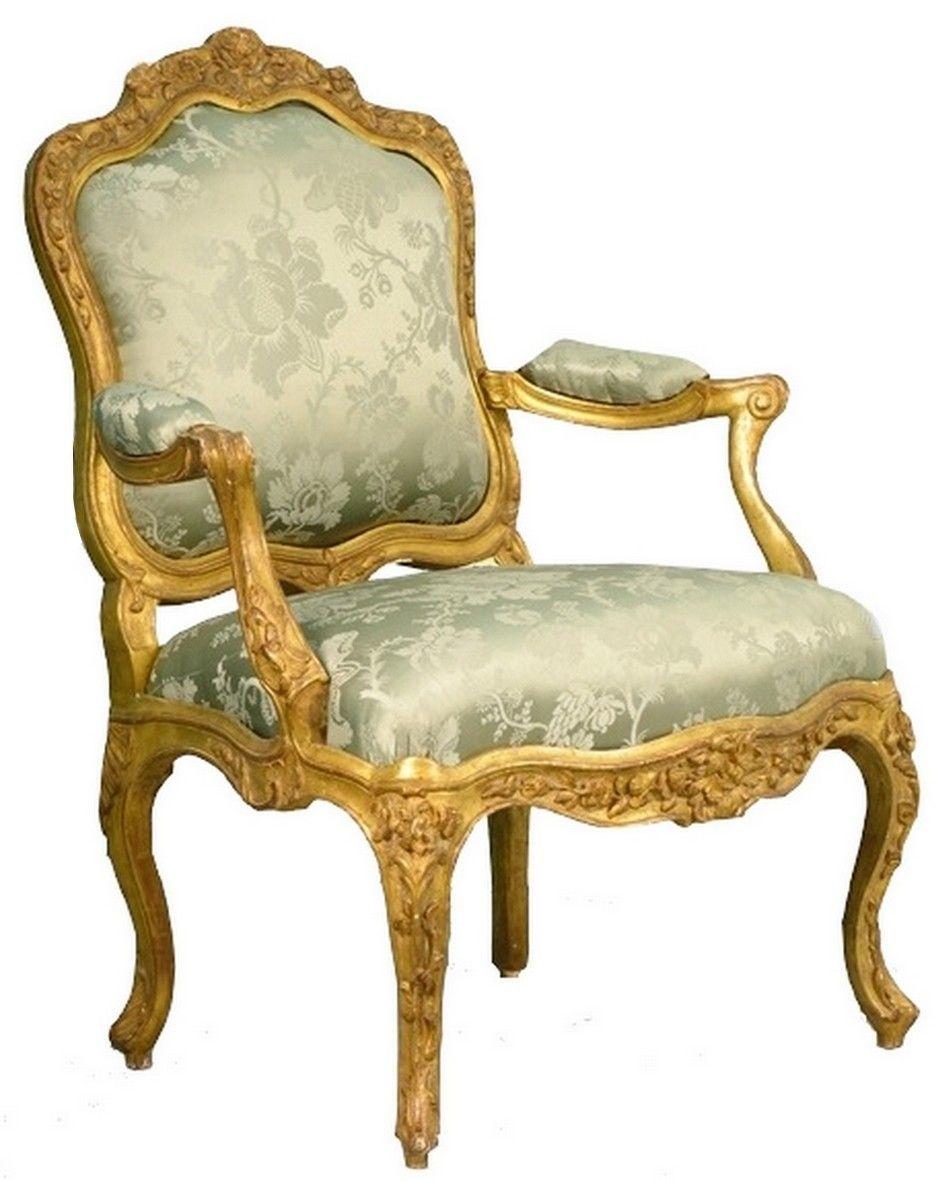 Fauteuil à la reine en bois doré, estampille de Nogaret à l'intérieur de la ceinture (Lyon, musées Gadagne, Inv. 80.2.3, cliché Roseline Agustin).