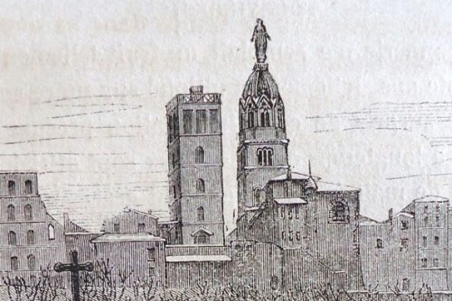 En silhouette depuis la ville (Revue du Lyonnais, 7-1853, détail)