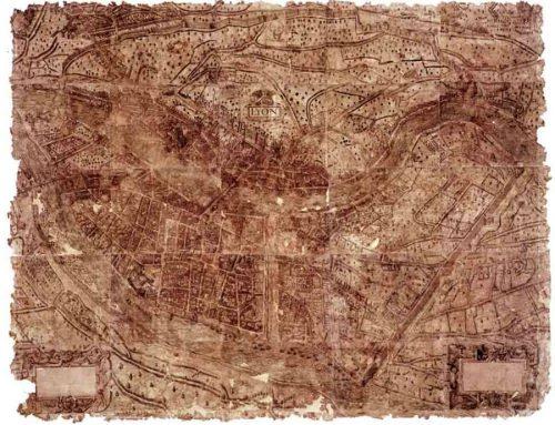 Plan scénographique de Lyon en 1550 ©Archives municipales de Lyon
