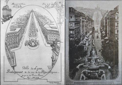 Georges Trévoux (architecte) et Edouard Guillon, (gauche : 1909, AML, 38 Ph 240 / droite : 1919, Extrait de La Vie Lyonnaise, édition du 26 juillet 1919, AML, 453 WP 007).