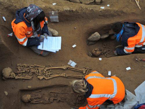Les archéologues fouillent Photo par M. Mordant