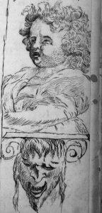 Portraits d'un ange et d'un démon, fin de table annuelle de 1755, paroisse Sainte-Croix.