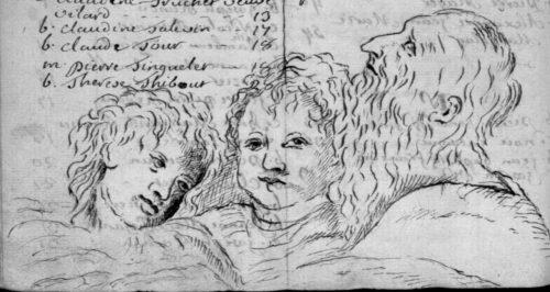 Deux anges et un père, fin de table annuelle de 1758, paroisse Sainte-Croix.
