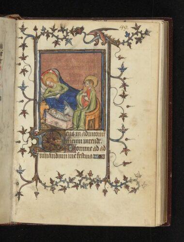 Image tirée du Livre d'heures de Johannete Ravenelle. Paris, XIVe siècle. Bibliothèque de l'université d'Uppsala, cote C517e.