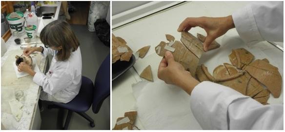 Fig. 4. — Restauration en cours du mobilier céramique au musée de Huesca