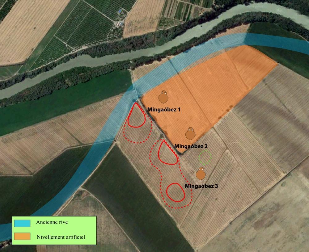 Fig. 3 — Vue zénithale aérienne de l'atelier de Mingaóbez (Posadas). Doc. V. Lauras et I. González Tobar, LabEx Archimede del. 2017.