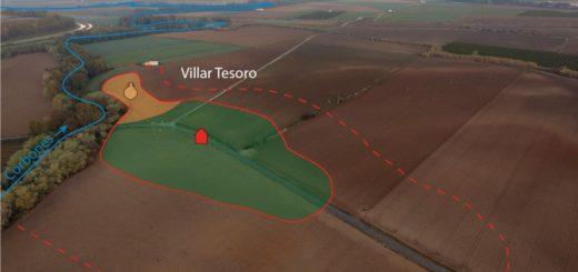 Fig. 3 - Vue aérienne prise de l'Est du complexe domanial de Villar Tesoro (Carmona) sur la rive droite du río Corbones. Doc. V. Lauras et Q. Desbonnets, LabEx Archimede.