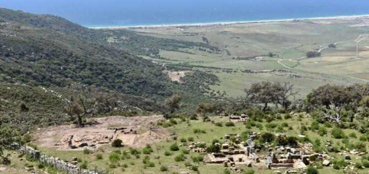 Fig. 2 - La zone D vue du sud-est. À gauche, base carrée du monument funéraire 6012; à droite, église wisigothique. Au fond, le littoral de la baie de Zahara.