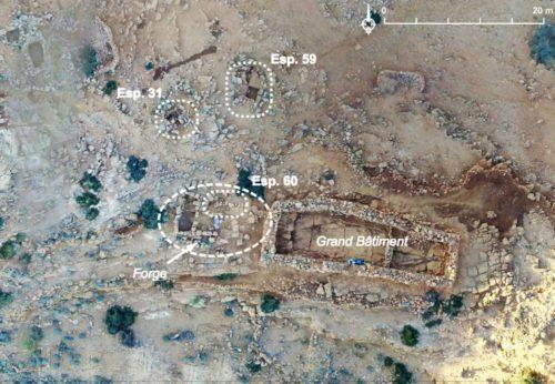 Fig. 3- Localisation des structures fouillées en Zone 7 en vue de la mise en évidence des activités métallurgiques dans ce secteur.