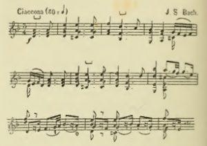 Thème de la Chaconne de la quatrième sonate de Jean-Sébastien Bach - Félix Huet, Étude sur les différentes écoles de violon depuis Corelli jusqu'à Baillot. F. Thouille, 1880, p. 48, Pubblico dominio, https://commons.wikimedia.org/w/index.php?curid=11616485