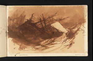 Study for 'The Shipwreck': A Sinking Ship and a Boat in Rough Seas circa 1805 Joseph Mallord William Turner 1775-1851 Accepted by the nation as part of the Turner Bequest 1856 http://www.tate.org.uk/art/work/D05386