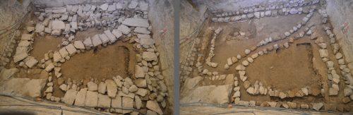 Le réseau de drains, sous le sol contemporain, avant et après la dépose des dalles de couverture (© SDA 04)