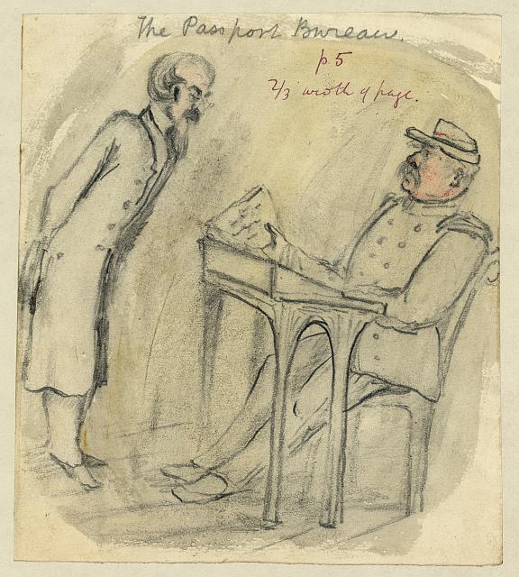 Taylor, Bayard: The Passport Bureau, Zeichnung (um 1856), in: Library of Congress Prints and Photographs Division Washington, D.C., USA