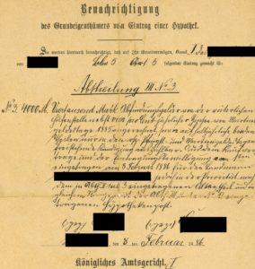 Grundschuldfeststellung (geschwärzt), 1886 (© Levke Harders)