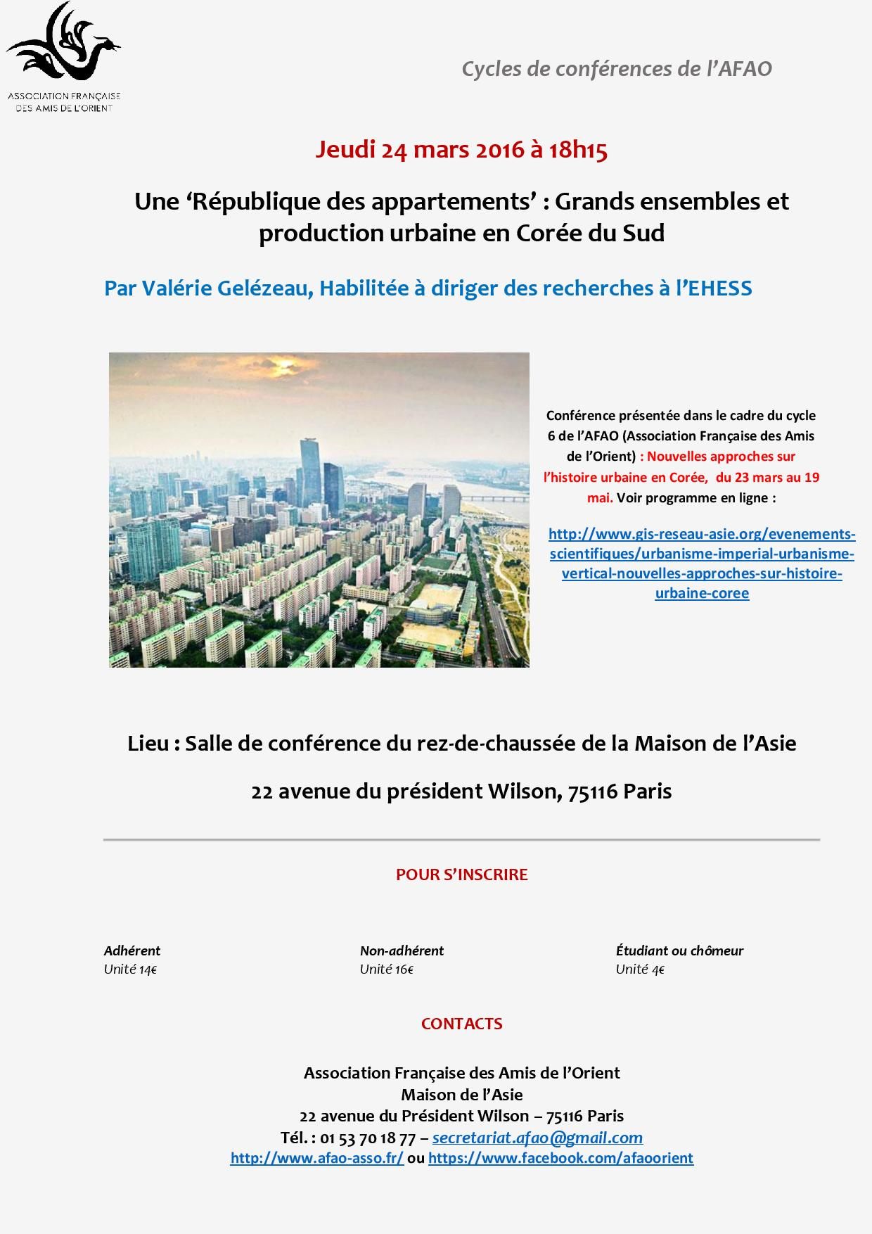 Conférence - Gelézeau - 24 mars - AFAO