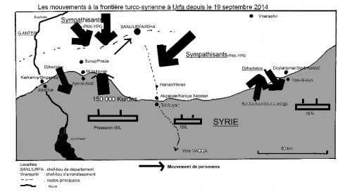 Les mouvements à la frontière turco-syrienne à Urfa depuis le 19/09/2014