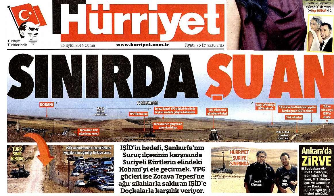 """Une du quotidien Hürriyet, 26/09/2014 - """"En ce moment à la frontière""""lien vers l'article"""