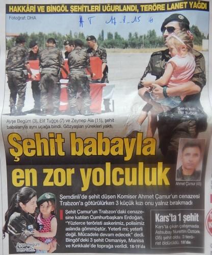 """Une de Haber Türk du 17 août 2015. """"Le voyage le plus dur avec son papa martyr"""""""
