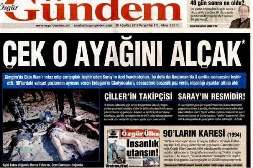 """Une du quotidien Özgür Gündem du 20 août 2015 """"Retire ce pied, minable"""""""