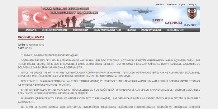 Capture d'écran du communiqué publié par les putschistes sur le site Internet des Forces armées turques le 16/07/2016
