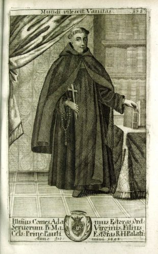 Esterházy Ádám szervita (Trophaeum nobilissimae ac antiquissimae domus Estorasianae, Viennae, 1700; SLUB)