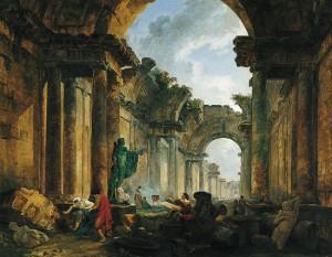 Hubert Robert, Vue imaginaire de la Grande Galerie du Louvre en ruines (1796)