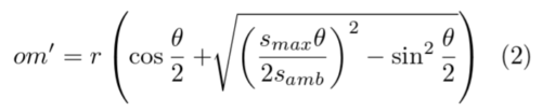 Equation 2: Formula of the length of segment om' as a function of speed, or r and theta
